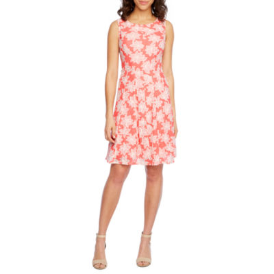 Studio 1 Sleeveless Lace Floral Fit & Flare Dress