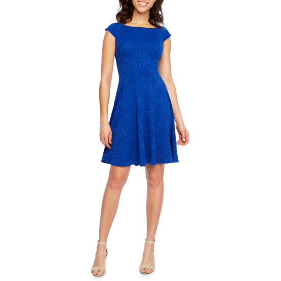 Danny & Nicole Cap Sleeve Fit & Flare Dress