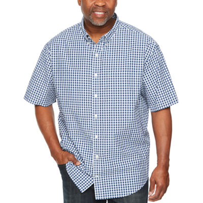 IZOD Breeze Short Sleeve Checked Button-Front Shirt-Big and Tall