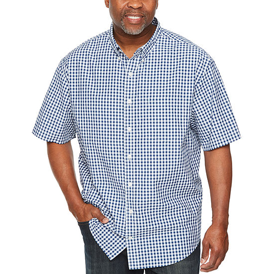 7b07d98d1432 IZOD Breeze Shirt Mens Short Sleeve Cooling Checked Button-Front Shirt Big  and Tall - JCPenney