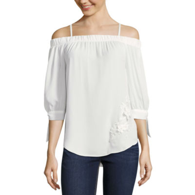 by&by Long Sleeve Crepe Blouse-Juniors