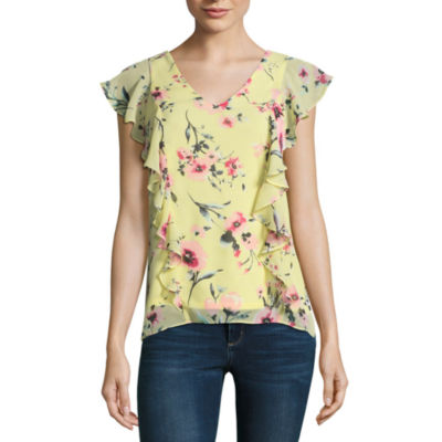 by&by Sleeveless Scoop Neck Chiffon Blouse-Juniors