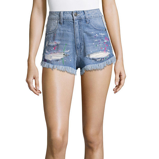 "People Need Kindness Womens Mid Rise 2 1/2"" Denim Short-Juniors"