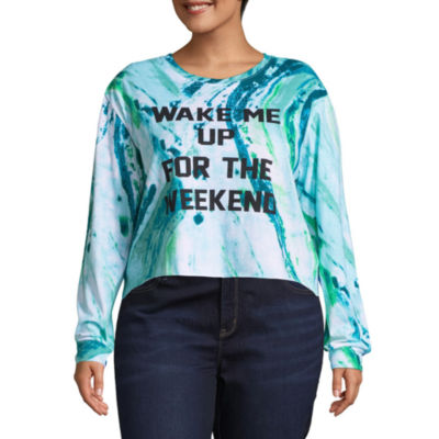Long Sleeve Crew Neck T-Shirt-Womens Juniors Plus