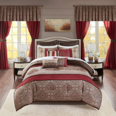 Madison Park Essentials Parker Jacquard Embroidered Pieced 24-pc. Complete Bedding Set with Sheets