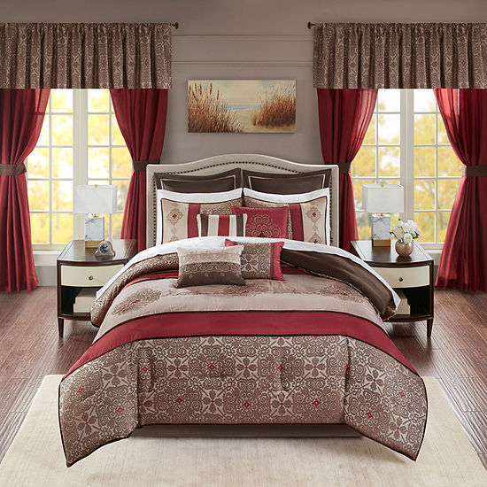 Madison Park Essentials Parker Jacquard Embroidered Pieced 24 Pc Complete Bedding Set With Sheets