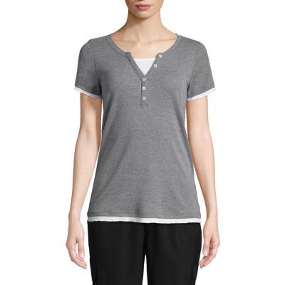 St. John's Bay Active-Womens Y Neck Short Sleeve T-Shirt