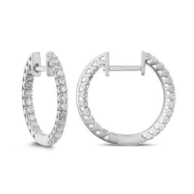 5/8 CT. T.W. GENUINE White Diamond 14K Gold 18.1mm Hoop Earrings