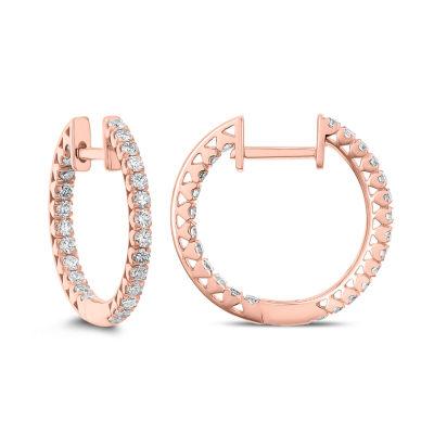 5/8 CT. T.W. Genuine White Diamond 14K Rose Gold 18.1mm Hoop Earrings