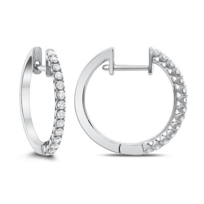 1/3 CT. T.W. GENUINE White Diamond 14K Gold 18.3mm Hoop Earrings