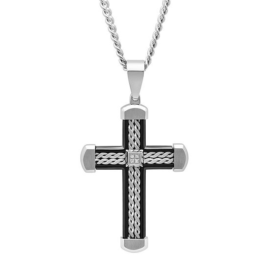Mens Diamond Accent Stainless Steel with Black IP Braid Design Cross Pendant Necklace