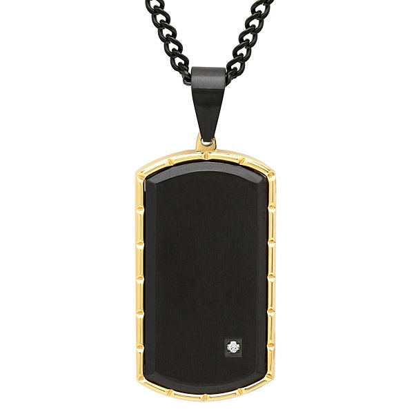 Mens Diamond Accent Stainless Steel Black IP with Yellow IP Edge Dog Tag Pendant Necklace