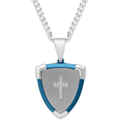 Mens Diamond Accent Stainless Steel with Blue IP Cross Shield Pendant Necklace