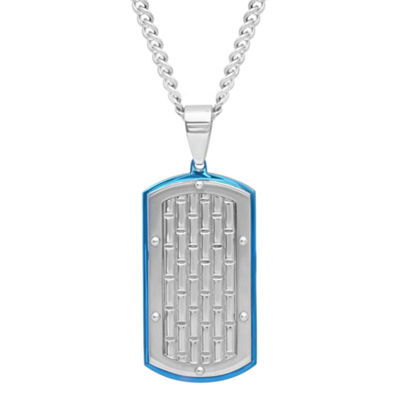 Mens Stainless Steel with Blue IP Brick Pattern Dog Tag Pendant Necklace