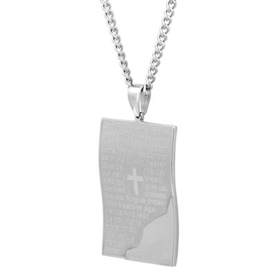 Mens Stainless Steel Lords Prayer Pendant Necklace