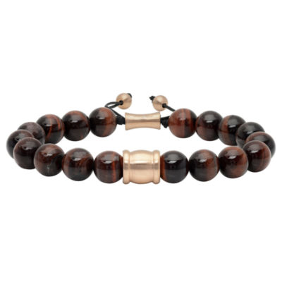 Mens Genuine Red Tiger Eye & Stainless Steel with Rose IP Bolo Bracelet