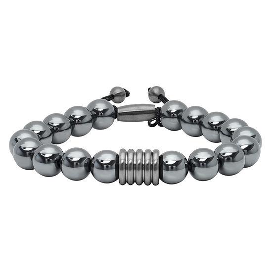 Mens Genuine Hematite & Stainless Steel Bolo Bracelet