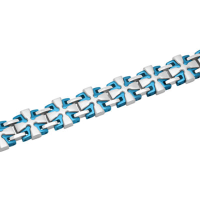 Mens 8 1/2 Inch Stainless Steel with Blue IP Link Bracelet