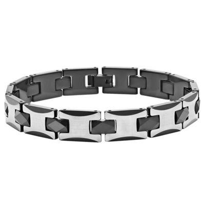 Mens 8 1/2 Inch Stainless Steel & Black Tungsten Link Bracelet