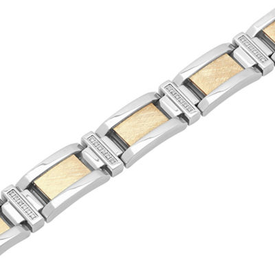 Mens 8 1/2 Inch 1/3 CT. T.W. White Diamond Stainless Steel Link Bracelet