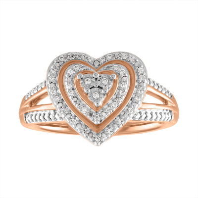 Womens 1/10 CT. T.W. White Diamond 14K Rose Gold Over Silver Heart Cocktail Ring