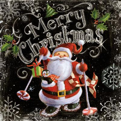 Chalk Santa Merry Christmas Canvas Art