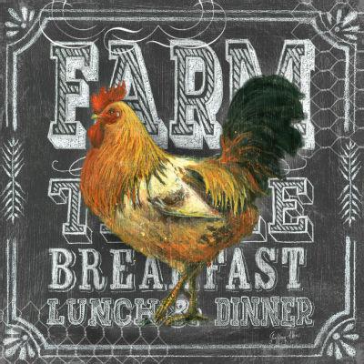 Chalkboard Rooster Farm Table Canvas Art