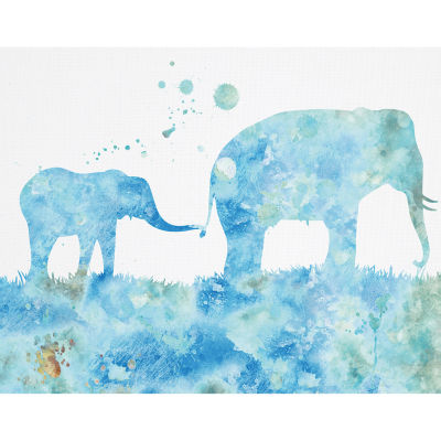 Mom And Baby Elephant 3 Textured Canvas Art