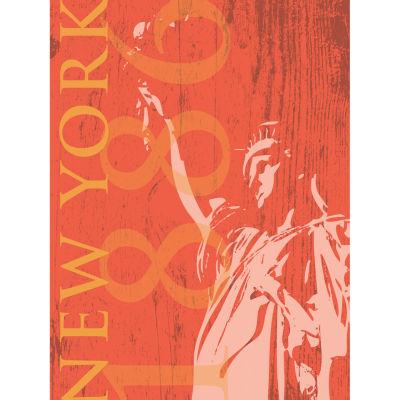 New York 1886 In Tangerine Canvas Art