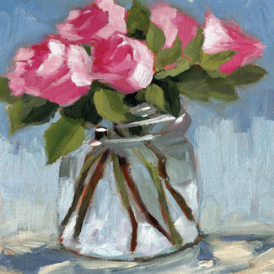 Pink Roses In Jar Soft Canvas Art