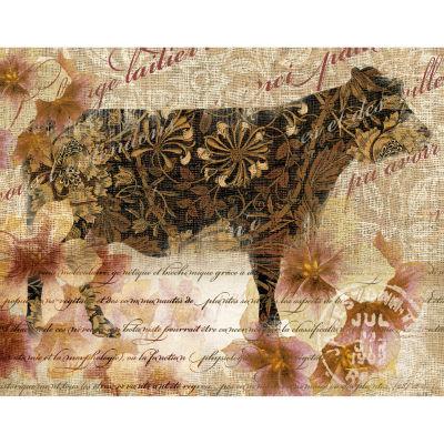 Silo Cow Gold 1 Canvas Art