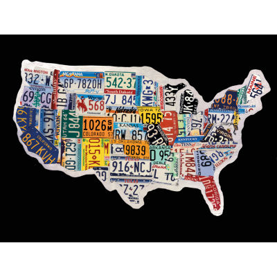 USA License Map Canvas Art
