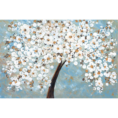 White Cherry Blossom Canvas Art