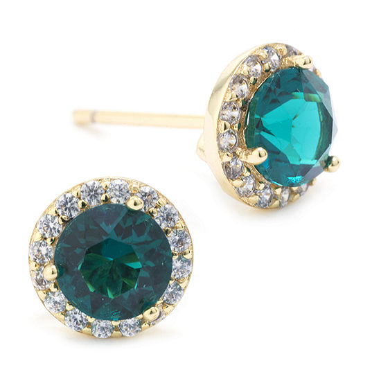 Sparkle Allure Swarovski Crystal Halo Green 14K Gold Over Brass 8.5mm Round Stud Earrings
