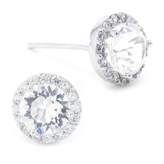 Sparkle Allure Swarovski Crystal Halo Pure Silver Over Brass 8.5mm Round Stud Earrings