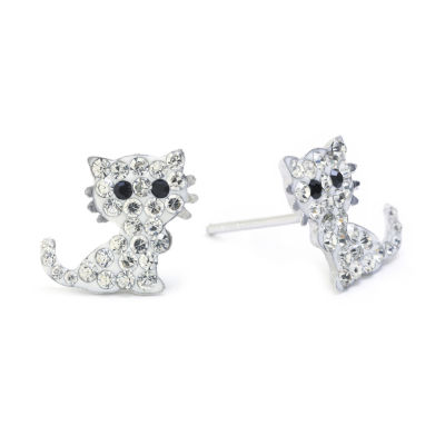 Silver Treasures Lab Created White Sterling Silver 10mm Stud Earrings