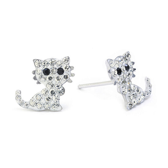 Silver Treasures Sterling Silver Crystal Cat Stud Earrings