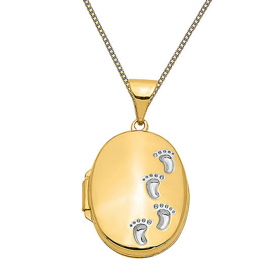 Womens 14K Two Tone Gold Oval Locket Necklace