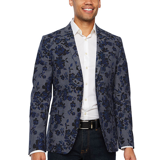 Jf Jferrar Resort Stretch Blue Black Floral Super Slim Fit Sport Coat