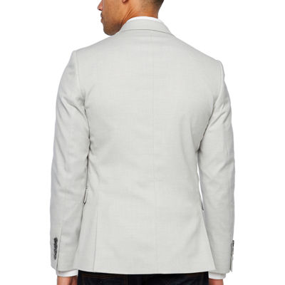 JF J.Ferrar Resort Stretch Light Gray Super Slim Fit Sport Coat