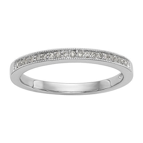 Womens 2.5MM 1/10 CT. T.W. Genuine White Diamond 14K White Gold Wedding Band