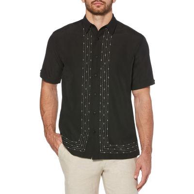 Cubavera Mens Short Sleeve Geo Linear Button-Front Shirt
