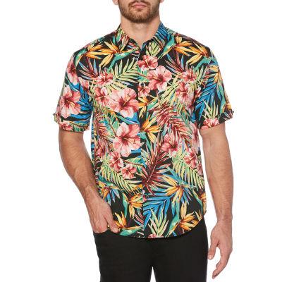 Cubavera Mens Short Sleeve Floral Button-Front Shirt