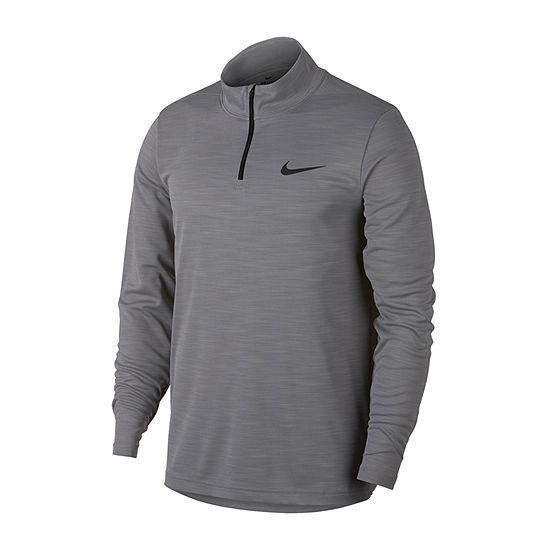 Nike-Big and Tall Mens Mock Neck Long Sleeve Moisture Wicking T-Shirt