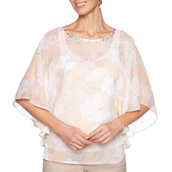 Lark Lane Make Me Blush Womens Scoop Neck Elbow Sleeve Embellished Lined Blouse
