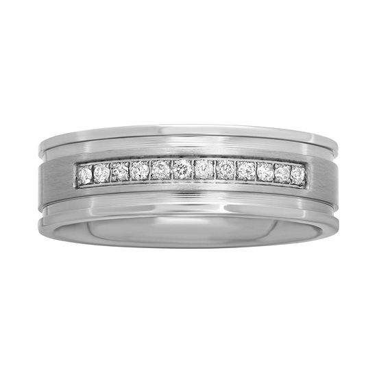 Mens 1/7 CT. T.W. Diamond Stainless Steel 7mm Wedding Band