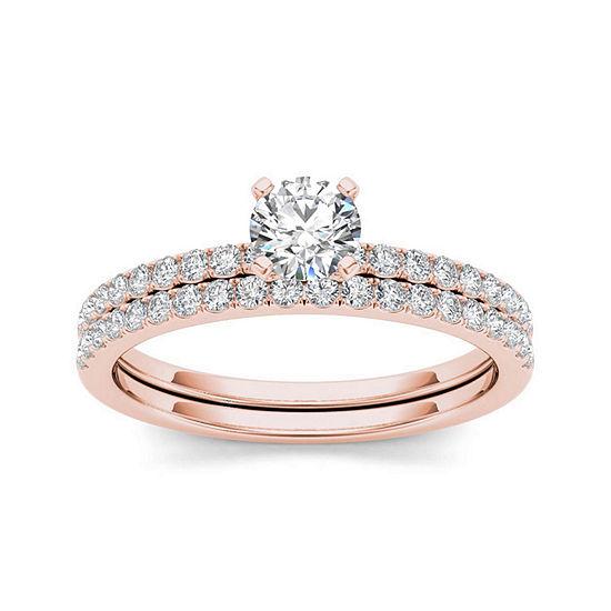 3/4 CT. T.W. Diamond 14K Rose Gold Bridal Ring Set
