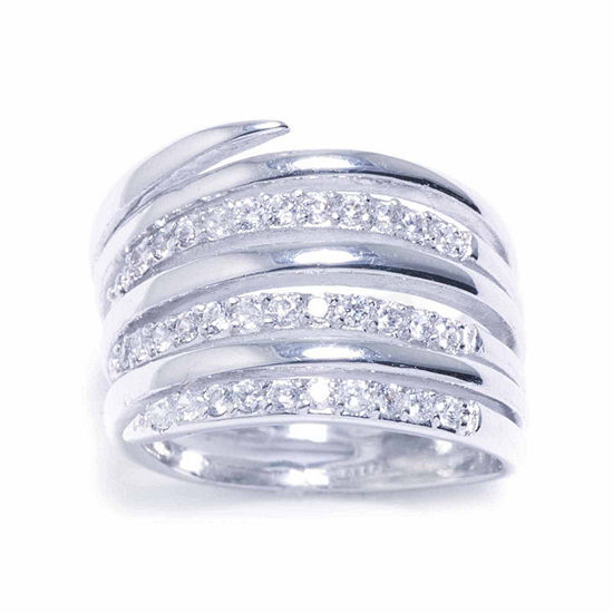Sparkle Allure Pure Silver Over Brass Cubic Zirconia Ring