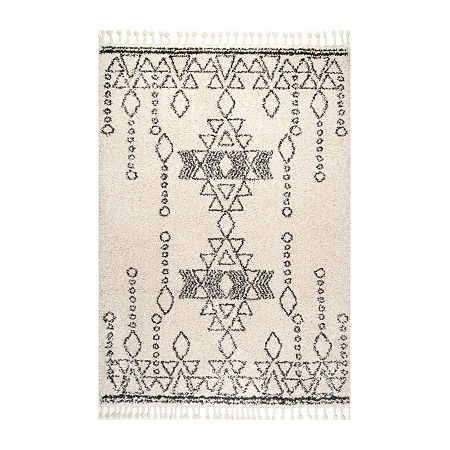 nuLoom Veola Moroccan Tribal Tassel Area Rug, One Size , White