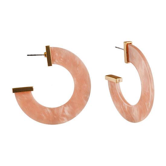 Bijoux Bar Pink Resin Hoop Earrings